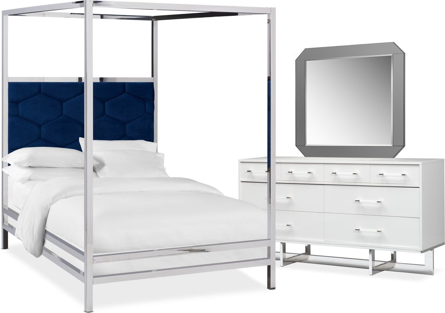 Concerto 5 Piece Canopy Bedroom Set With Dresser And Mirror Value City Furniture And Mattresses