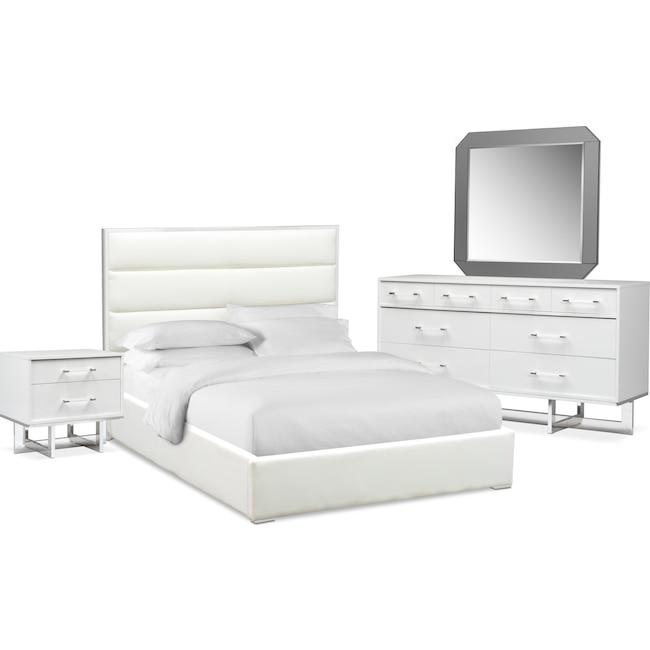 Bedroom Furniture - Concerto 6-Piece Bedroom Set with Nightstand, Dresser and Mirror