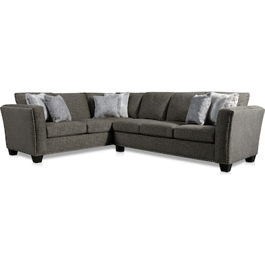 Cora 2-Piece Sectional with Right-Facing Sofa - Steel