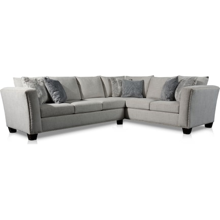 Cora 2-Piece Sectional with Left-Facing Sofa - Gray