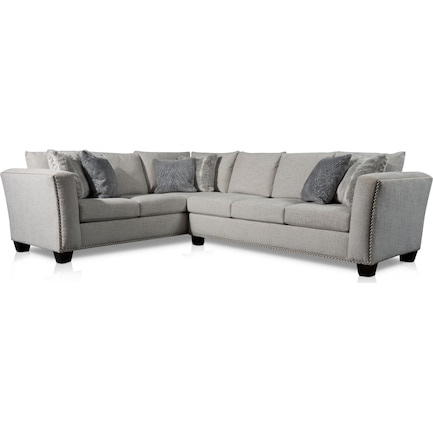 Cora 2-Piece Sectional with Right-Facing Sofa - Gray