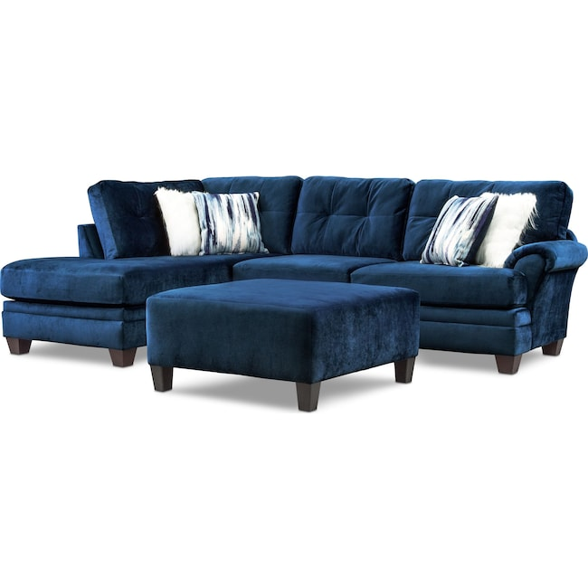 Living Room Furniture - Cordelle 2-Piece Sectional with Chaise + FREE OTTOMAN