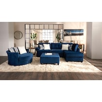 cordelle blue  pc sectional and ottoman