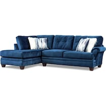 cordelle blue  pc sectional with left facing chaise