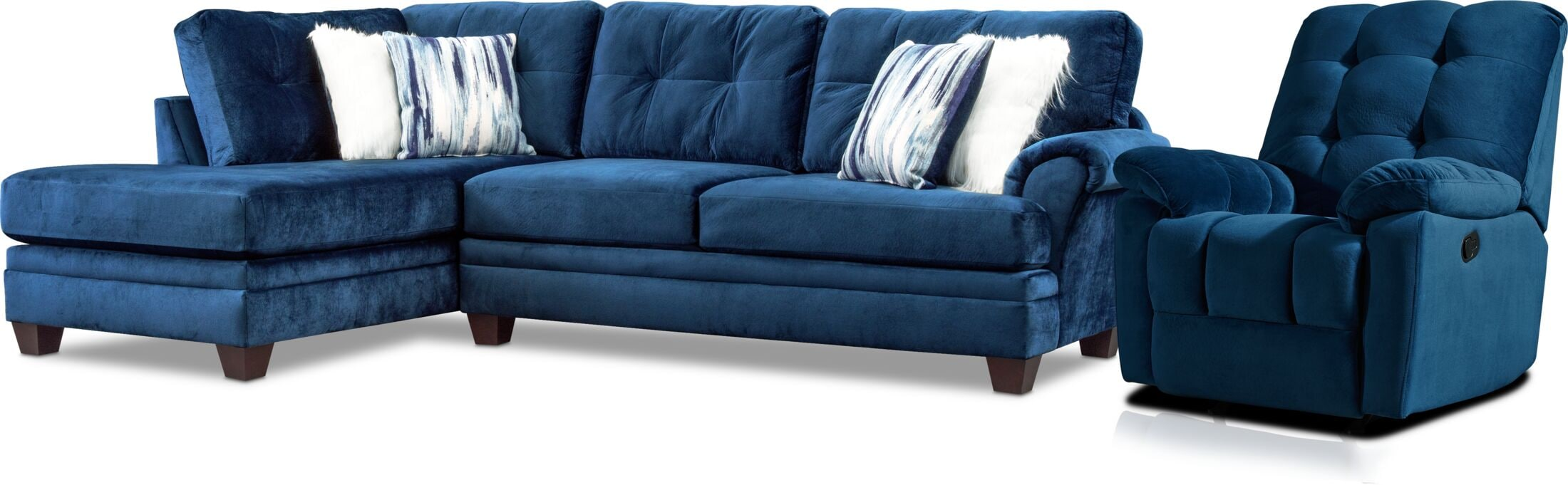 Living Room Furniture - Cordelle 2-Piece Sectional and Manual Recliner