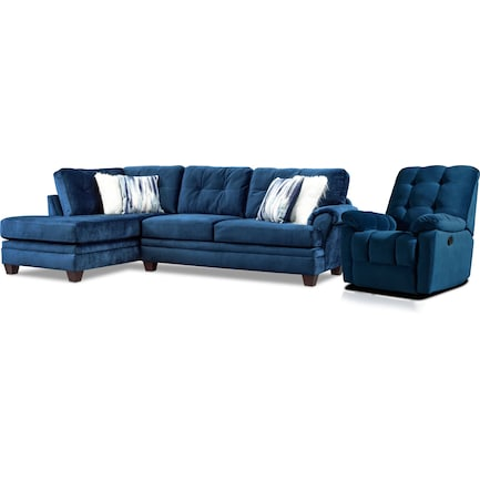 Cordelle 2-Piece Sectional with Left-Facing Chaise + FREE RECLINER - Blue