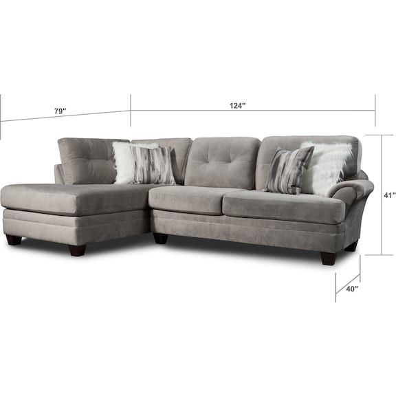 Living Room Furniture - Cordelle 2-Piece Sectional and Ottoman