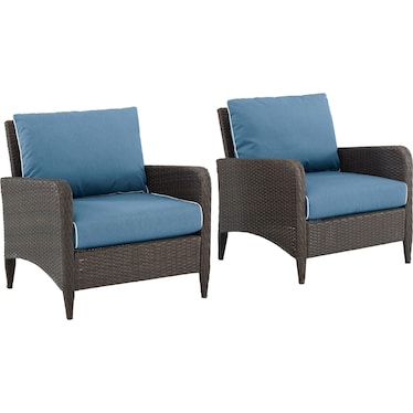 Corona Set of 2 Outdoor Chairs - Blue