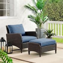corona blue outdoor chair set