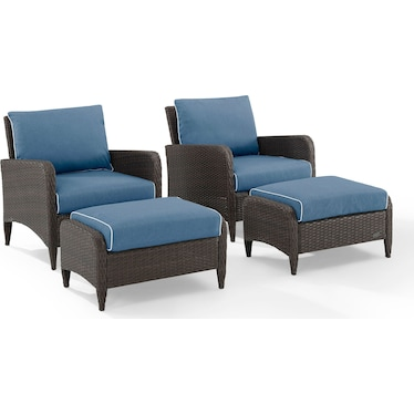 Corona Set of 2 Outdoor Chairs and Ottomans - Blue