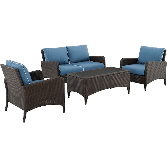 Outdoor Furniture - Corona Outdoor Loveseat, Set of 2 Chairs and Coffee Table
