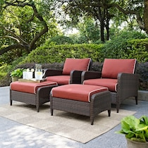 corona red outdoor chair set