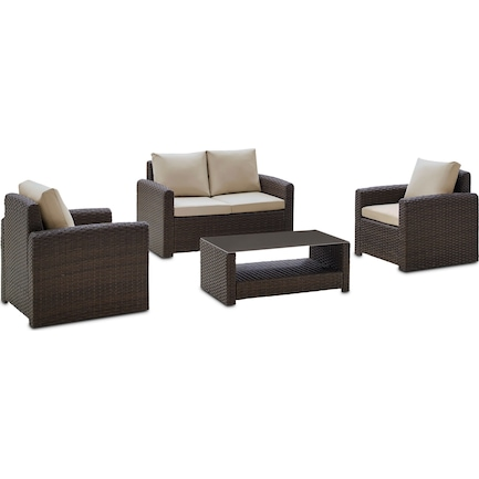Coronado Outdoor Loveseat, 2 Armchairs, and Coffee Table Set - Brown