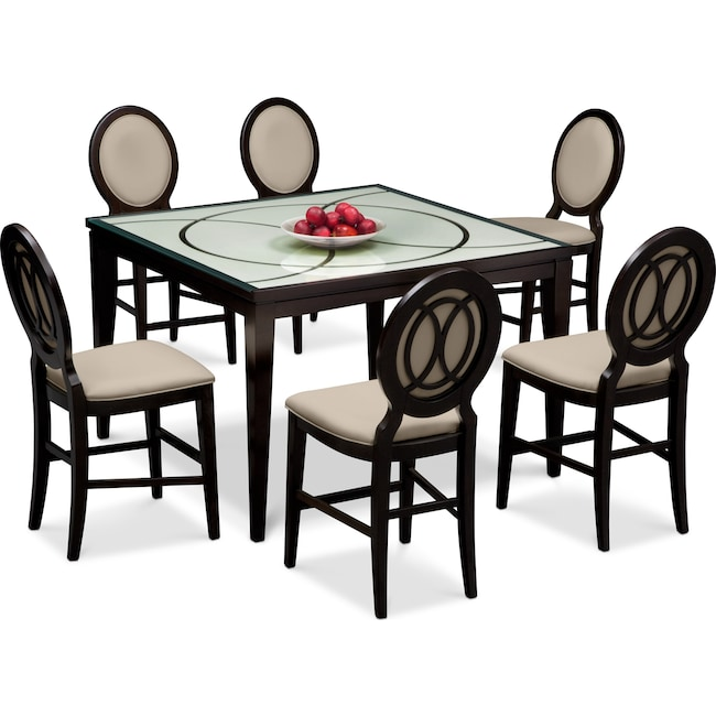 Dining Room Furniture - Cosmo Counter-Height Dining Table and 6 Dining Chairs