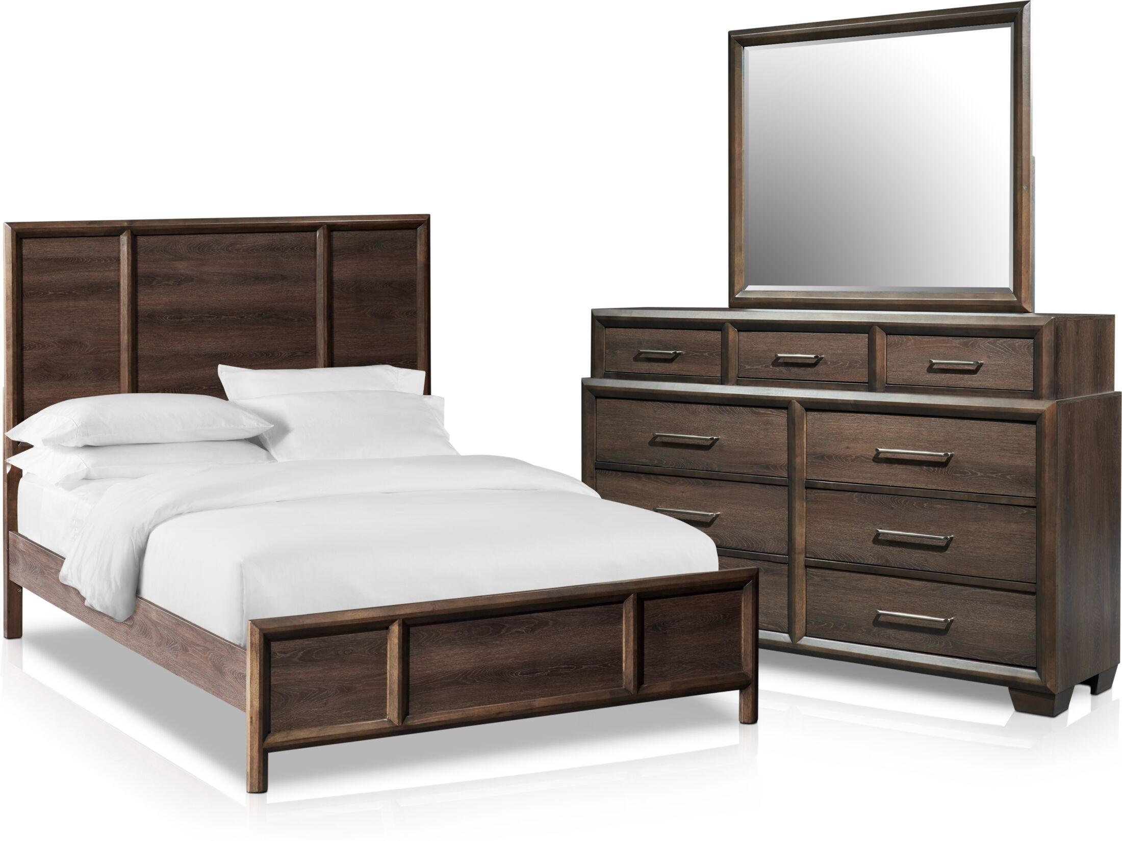 Bedroom Furniture - Dakota 5-Piece Bedroom Set with Dresser and Mirror