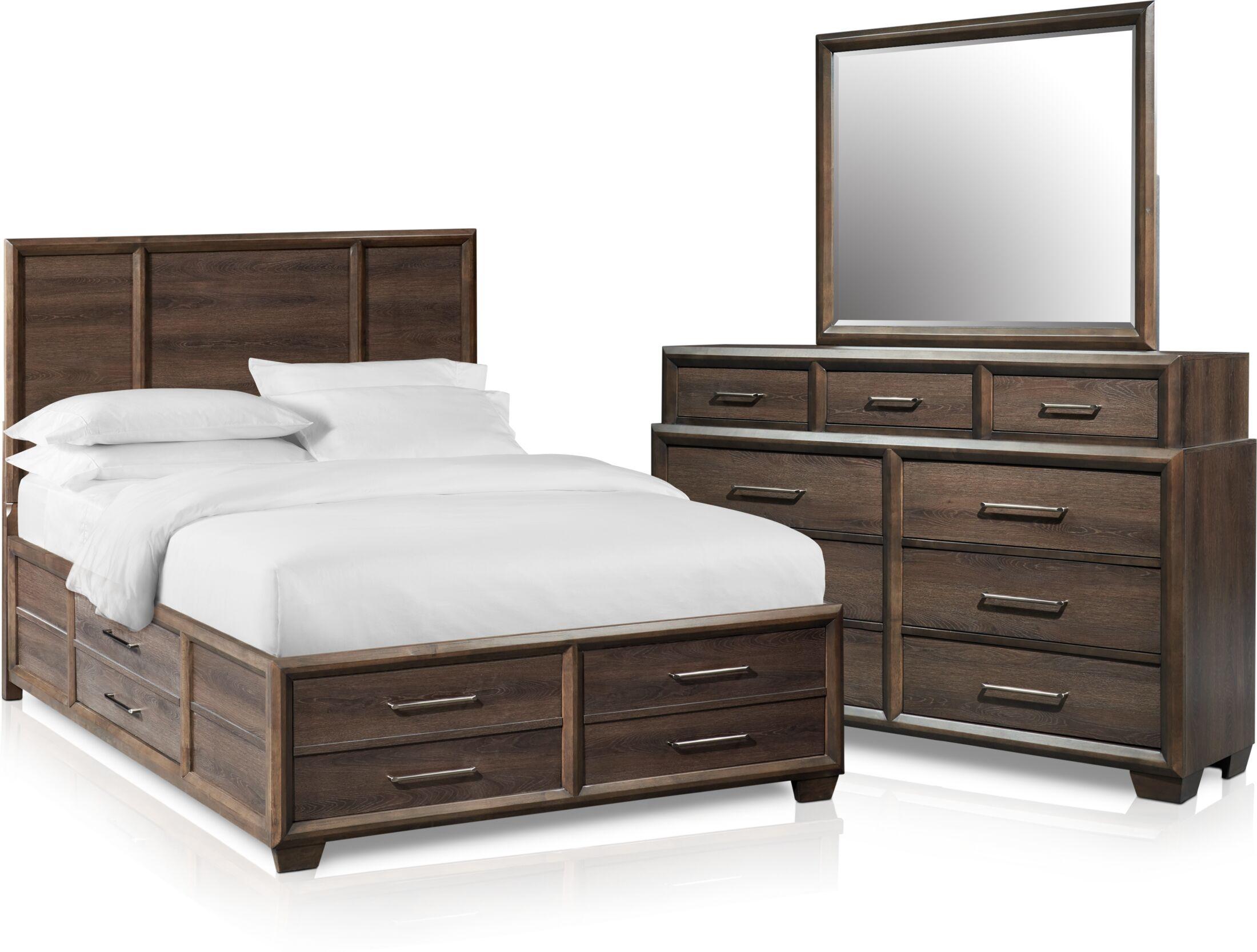Bedroom Furniture - Dakota 5-Piece Panel Storage Bedroom Set with Dresser and Mirror