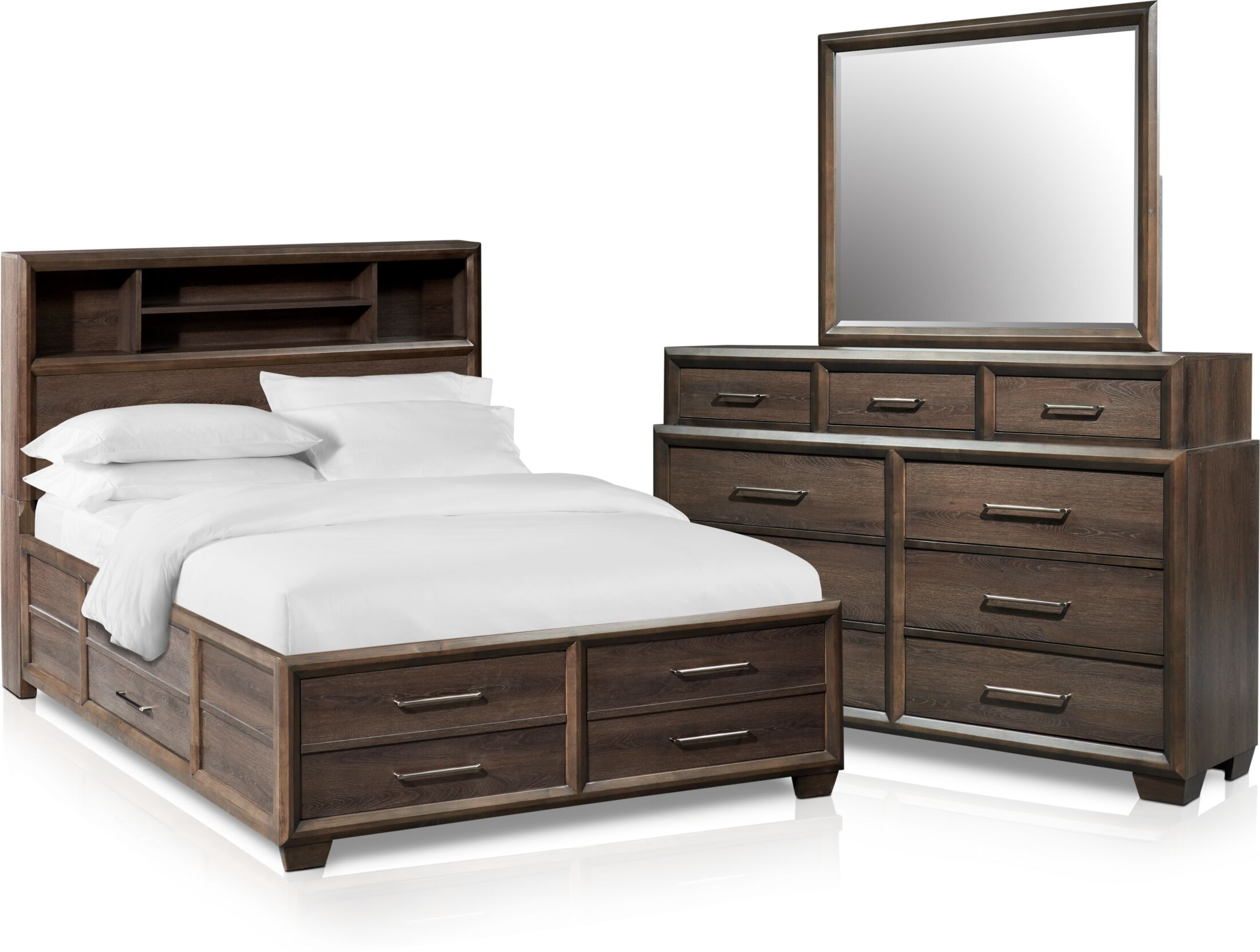 Bedroom Furniture - Dakota 5-Piece Bookcase Storage Bedroom Set with Dresser and Mirror