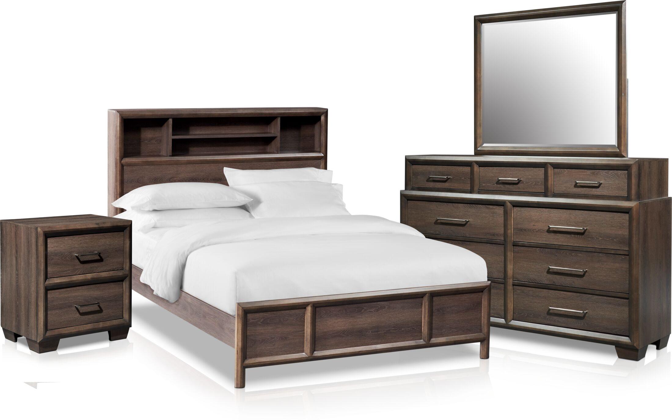 Bedroom Furniture - Dakota 6-Piece Bookcase Bedroom Set with Nightstand, Dresser and Mirror