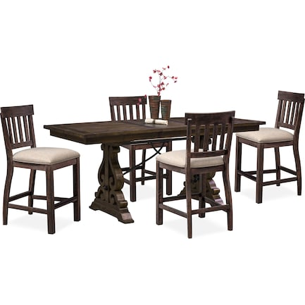 Charthouse Counter-Height Dining Table and 4 Stools - Charcoal