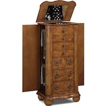 darla light brown jewelry armoire