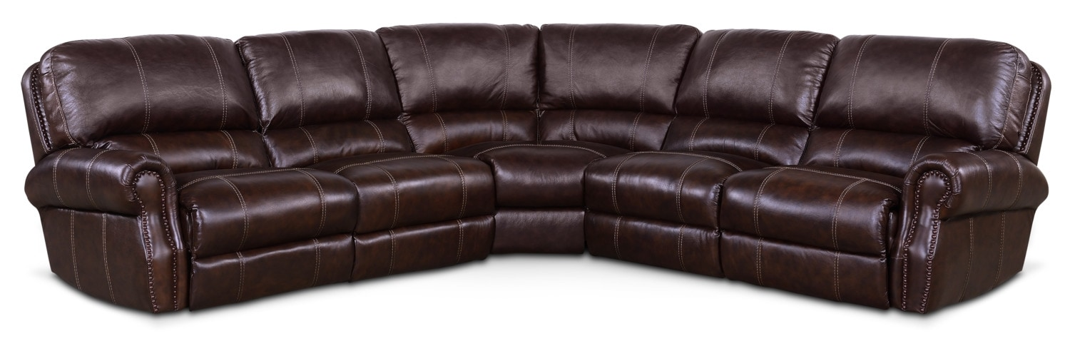 Living Room Furniture - Dartmouth 5-Piece Dual-Power Reclining Sectional with 2 Reclining Seats