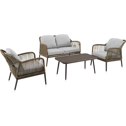 Solara Outdoor Loveseat, Set of 2 Chairs and Coffee Table Set