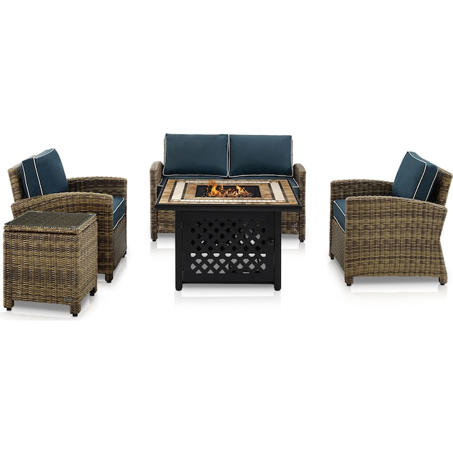 Outdoor Furniture - Destin Outdoor Loveseat, 2 Chairs, End Table and Fire Table