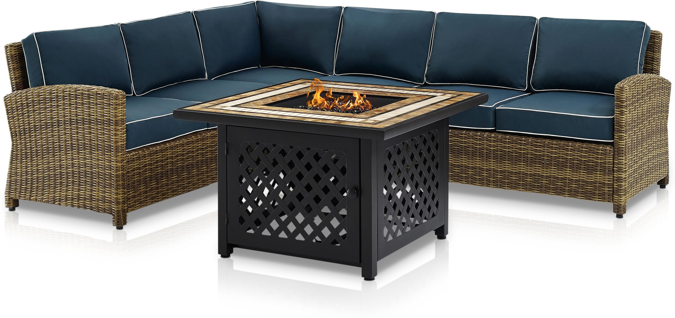 Outdoor Furniture - Destin 4-Piece Outdoor Sectional and Fire Table Set