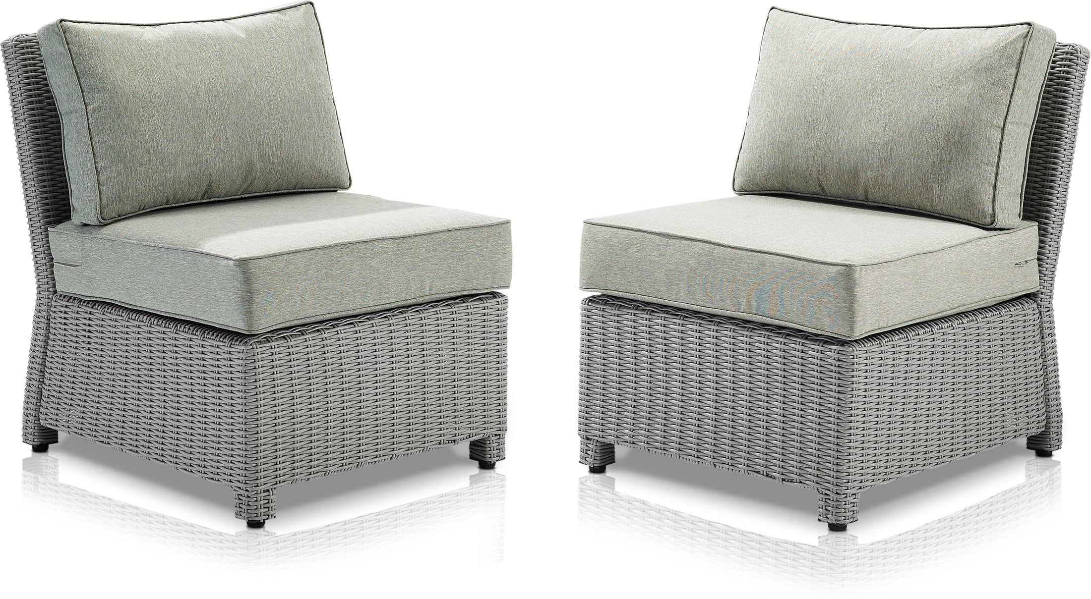 Outdoor Furniture - Destin Set of 2 Outdoor Armless Chairs