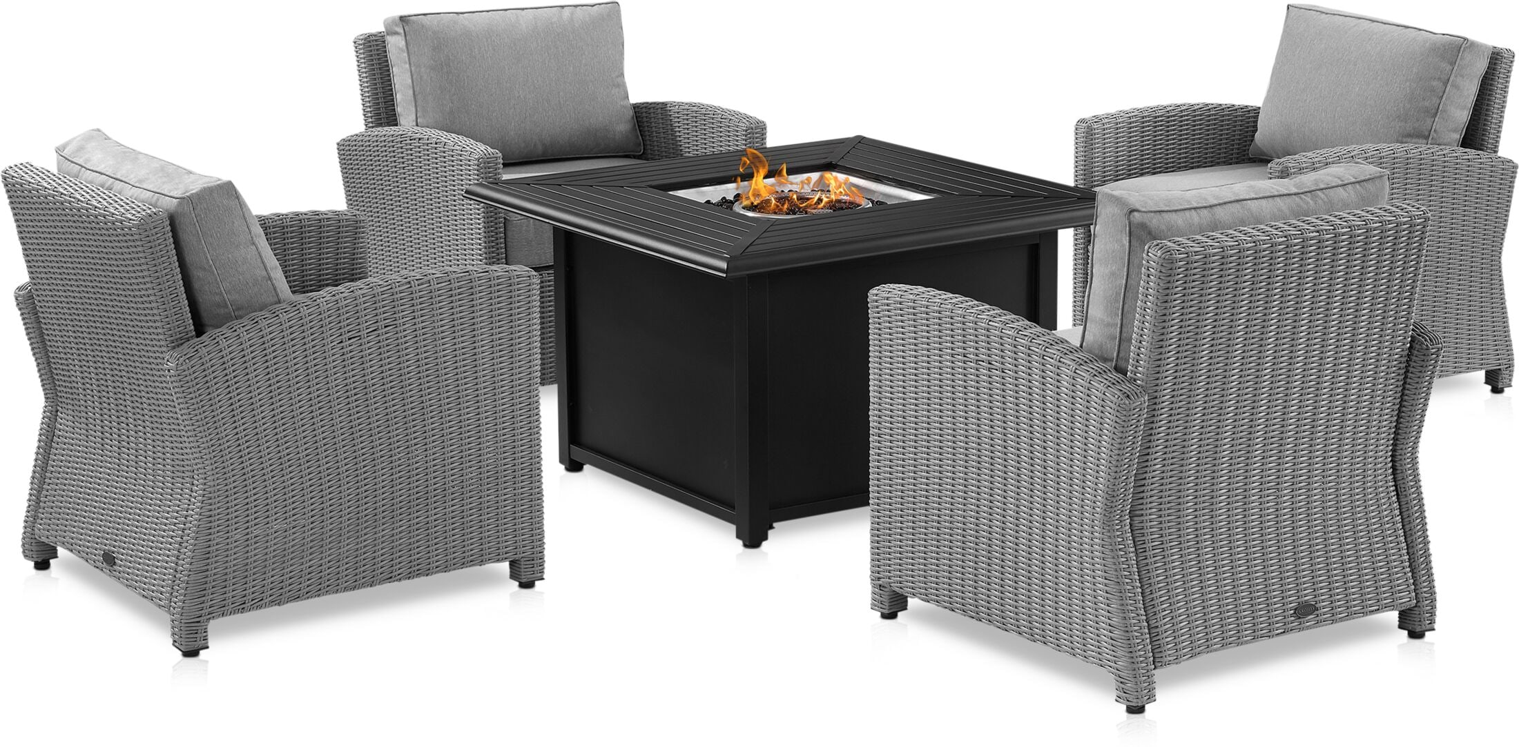Outdoor Furniture - Destin Set of 4 Outdoor Chairs and Fire Tybee Table