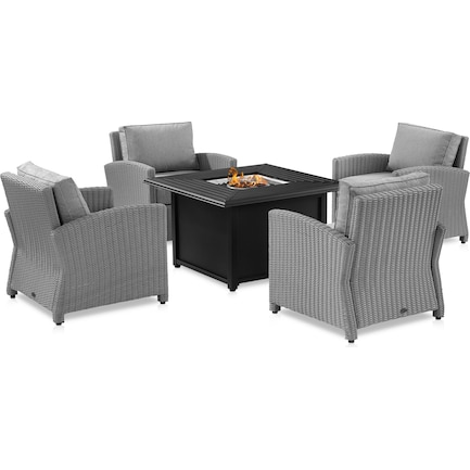 Destin Set of 4 Outdoor Chairs and Fire Tybee Table