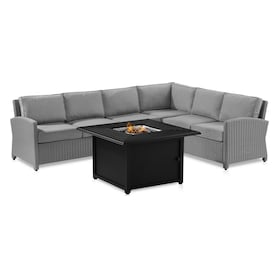 Destin Outdoor 4-Piece Sectional and Tybee Fire Table Set