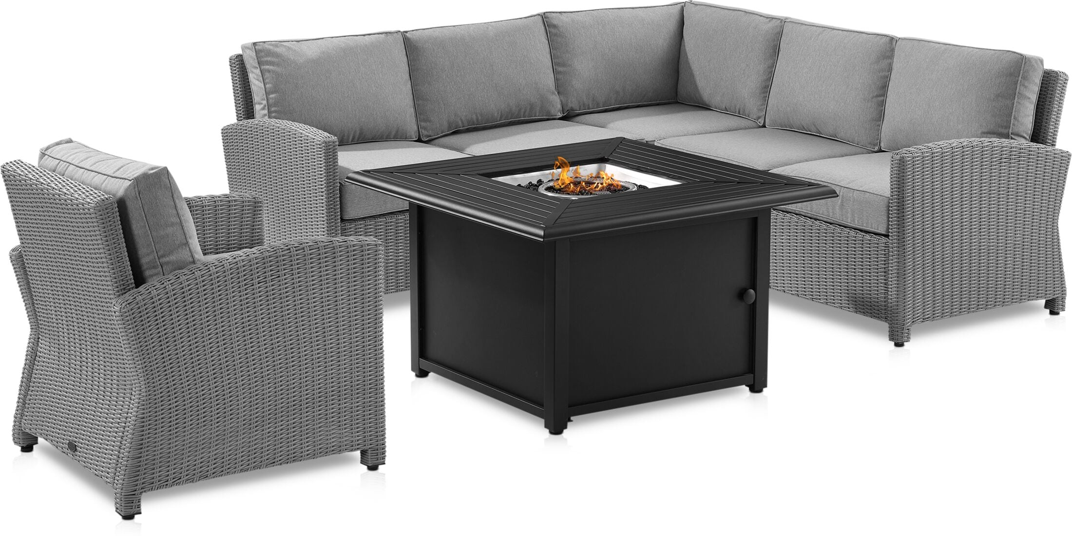 Outdoor Furniture - Destin Outdoor 3-Piece Sectional, Chair and Tybee Fire Table Set
