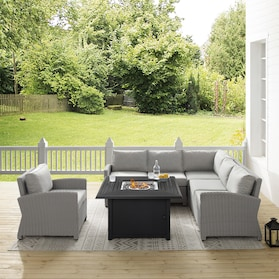 Destin Outdoor 3-Piece Sectional, Chair and Tybee Fire Table Set