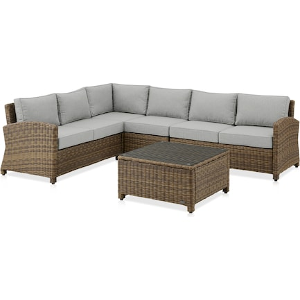 Destin 4-Piece Outdoor Sectional and Coffee Table Set - Gray/Brown