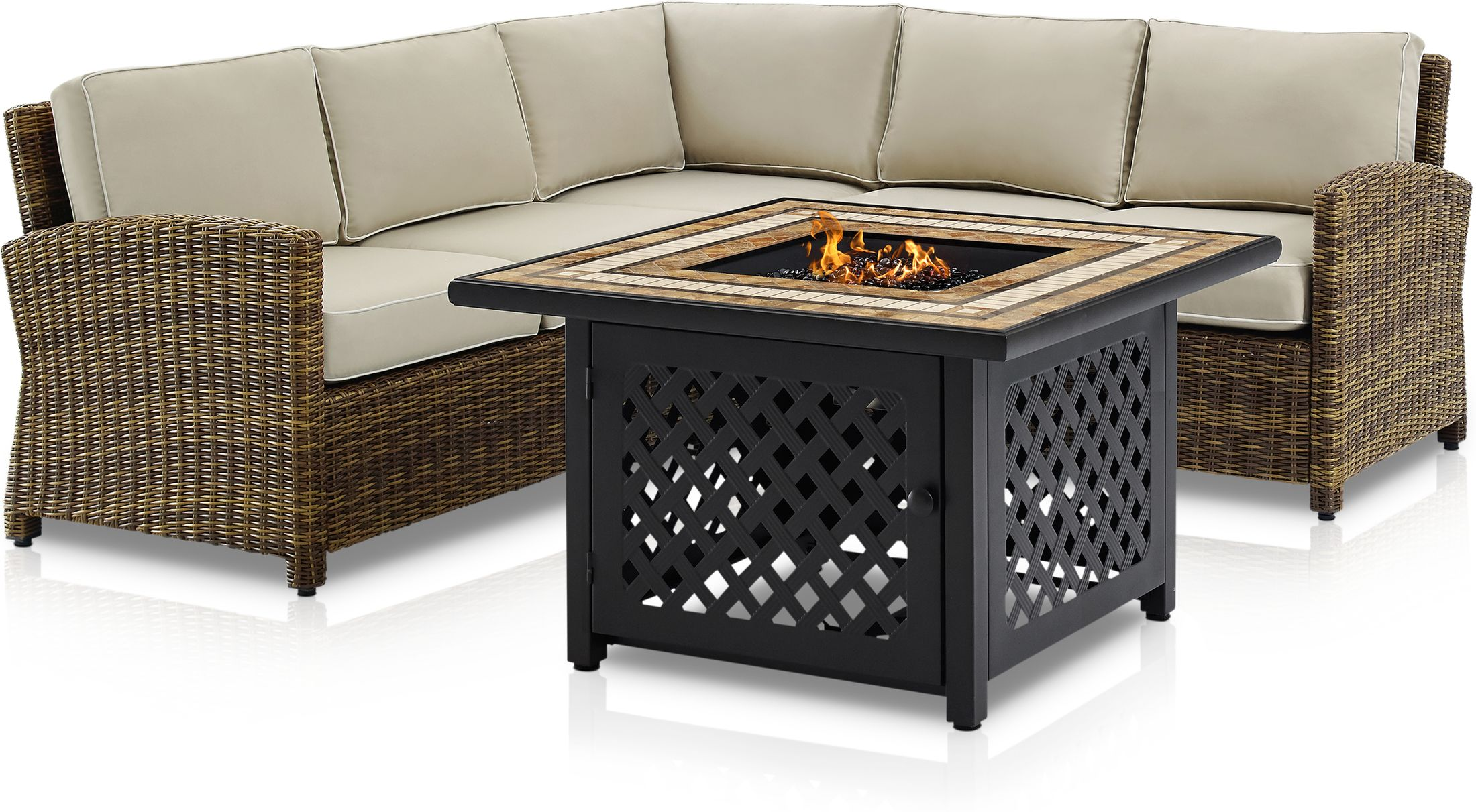 Outdoor Furniture - Destin 3-Piece Outdoor Sectional and Fire Table Set