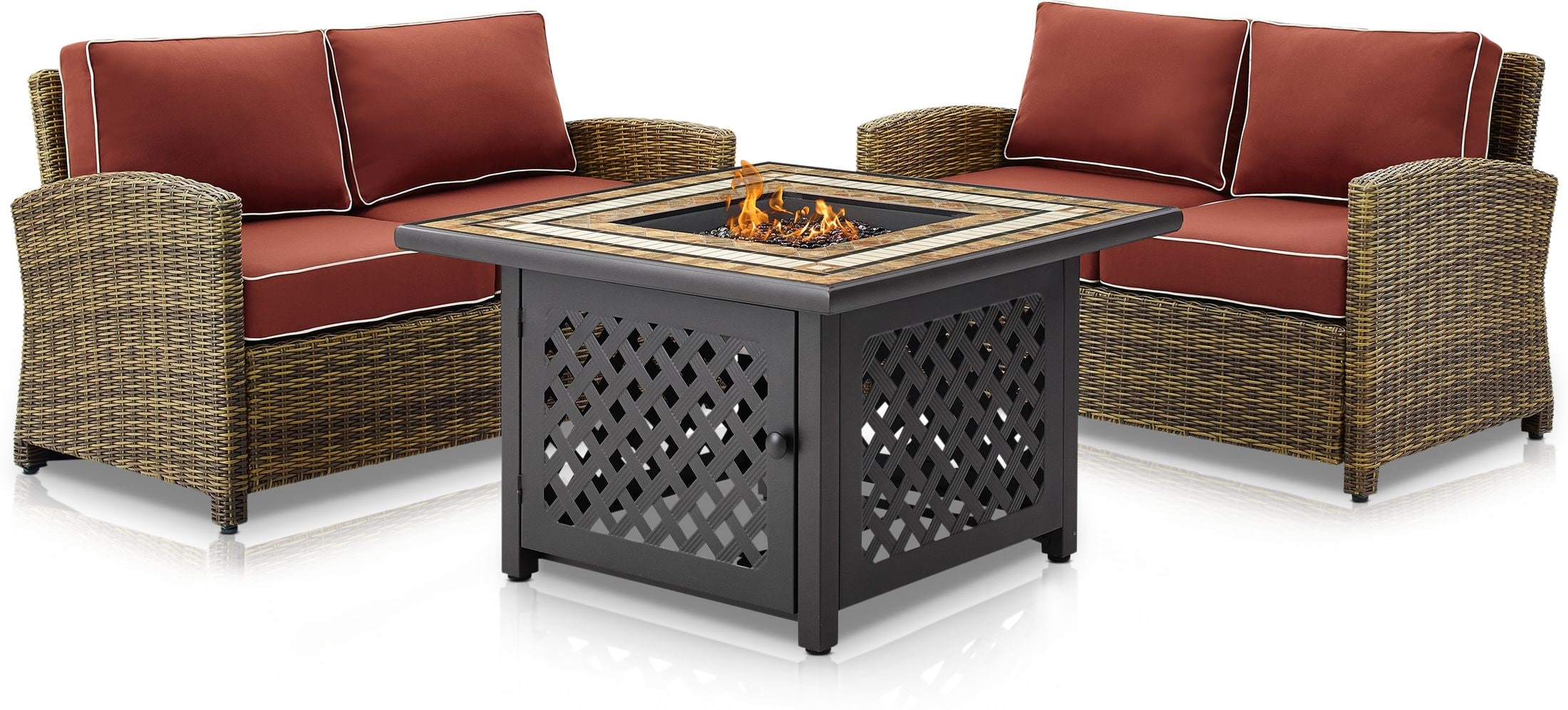 Outdoor Furniture - Destin Set of 2 Outdoor Loveseats and Fire Table