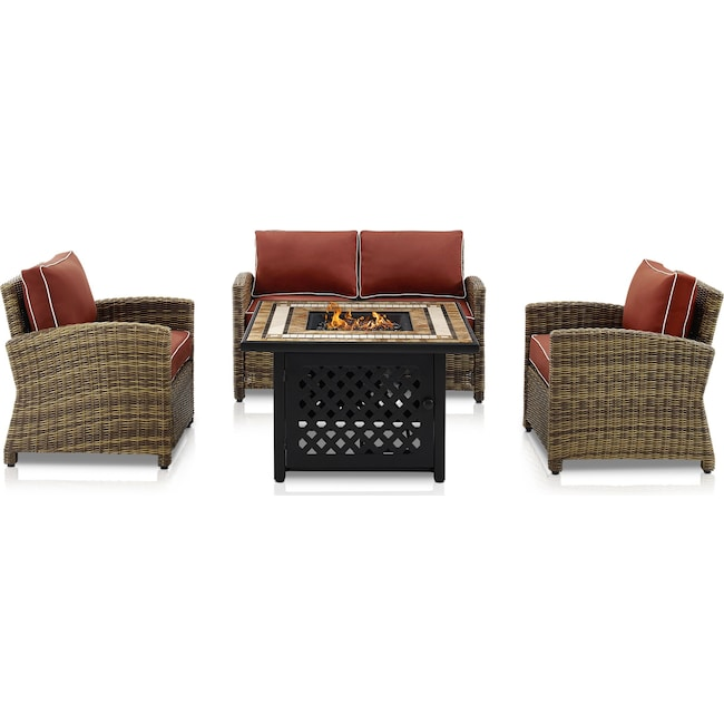 Outdoor Furniture - Destin Outdoor Loveseat, 2 Chairs and Fire Table