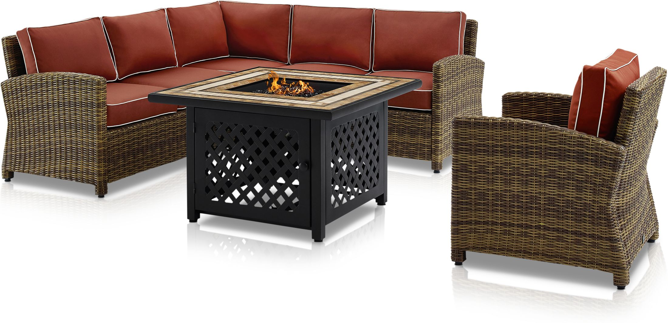 Outdoor Furniture - Destin 3-Piece Outdoor Sectional, Chair and Fire Table Set