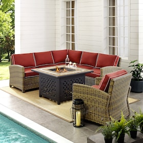 Destin 3-Piece Outdoor Sectional, Chair and Fire Table Set