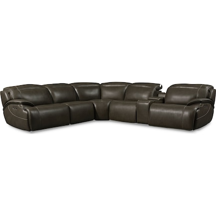 Devon 6-Piece Dual-Power Reclining Sectional with 2 Reclining Seats - Charcoal