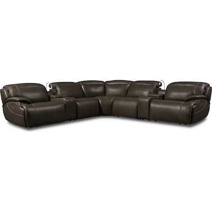 Devon 7-Piece Dual-Power Reclining Sectional with 2 Reclining Seats - Charcoal
