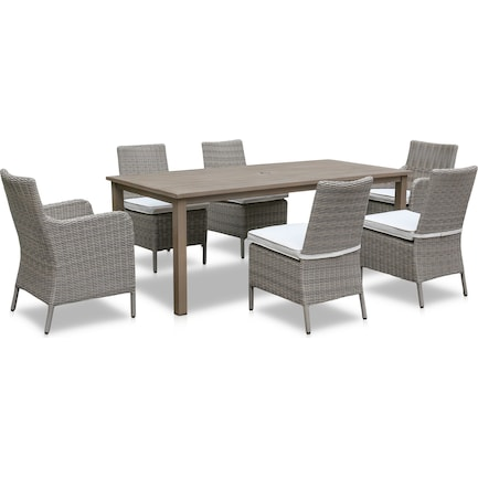 Dover Bay Outdoor Rectangular Dining Table, 4 Side Chairs and 2 Arm Chairs