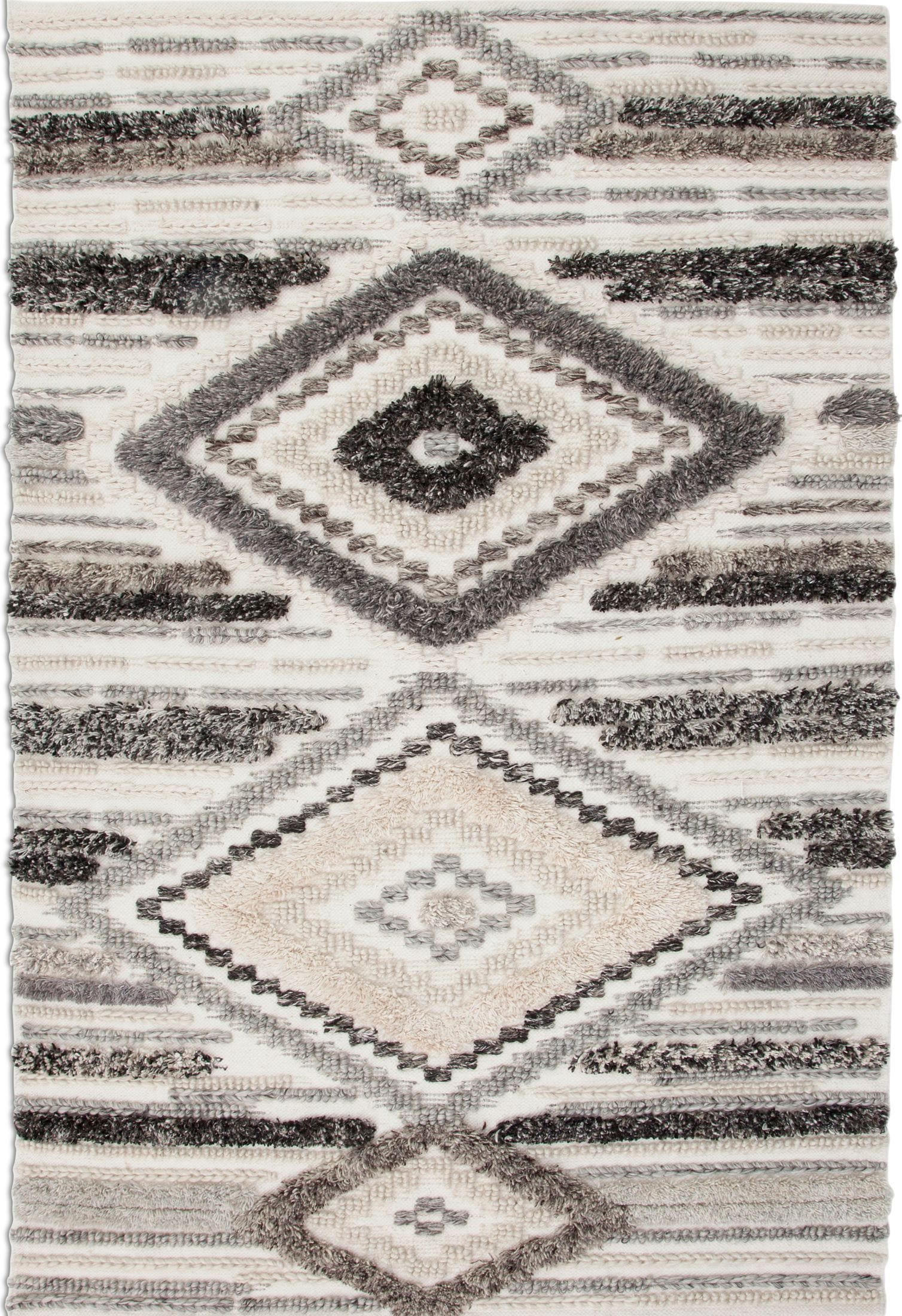 Rugs - Drake Area Rug - Ivory and Gray