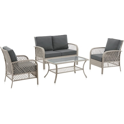 Edenton Outdoor Loveseat, Set of 2 Chairs and Coffee Table Set - Gray