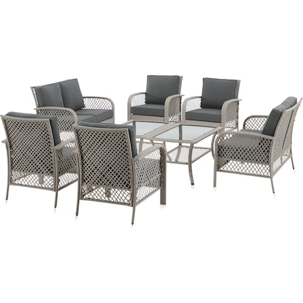 Edenton Outdoor Set of 2 Loveseats, Set of 4 Chairs and 2 Coffee Tables - Gray