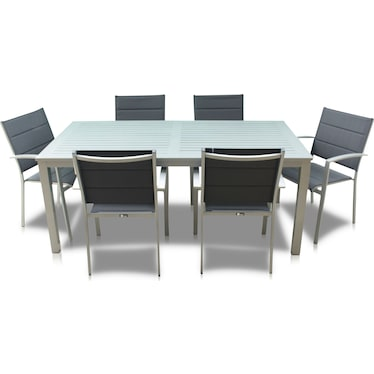Edgewater Outdoor Rectangular Dining Table and 6 Chairs - Gray