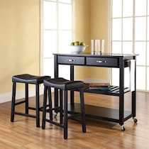 elias black kitchen cart set