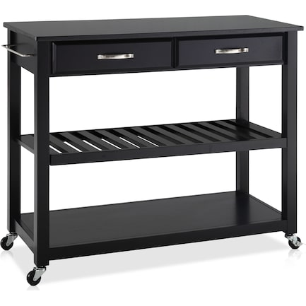 Elias Kitchen Cart - Black/Black Granite Top