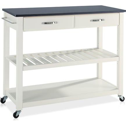 Elias Kitchen Cart  - White/Black Granite Top